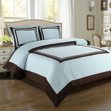 Wrinkle Free Combed Cotton Hotel Blue & Brown Duvet Cover Bedding Set 300TC