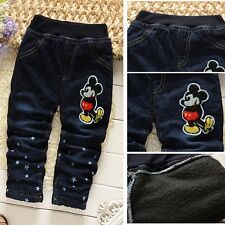 Mickey Pattern Baby Girls Tights Thick  Kids' Winter Jeans Pants Trousers Warmer