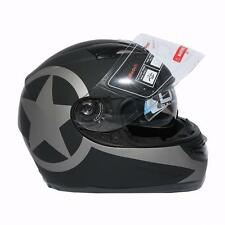 DOT Black Star Matte Dual Visor Full Face Motocycle Helmet Sun Shield S M L XL
