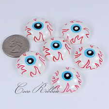 25mm White Bloody Eyeball Spooky Flatback Resin Cabochons - 12/24/50 pieces