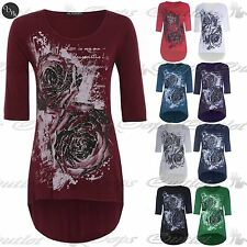 Womens Ladies 3/4 Sleeve Rose Glitter High Low Jersey T Shirt Long Top Plus Size