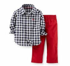 Carters 3 6 9 12 18 24 Months Shirt & Canvas Pants Set Baby Boy Clothes Red