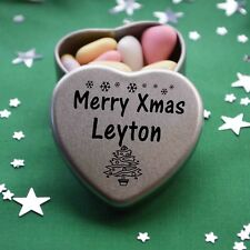 Merry Xmas Leyton Mini Heart Tin Gift Present Happy Christmas Stocking Filler