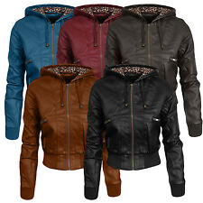 NE PEOPLE Women's Premium Fitted faux leather Zip Up Moto Jacket W/ Hood NEWJ07