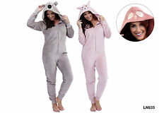 Ladies Onesie Tom Franks Supersoft Hooded Animal All-In-One Various Colours