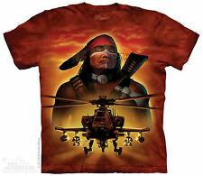 Apache Helicopter The Warrior Native American The Mountain Adult T-Shirt
