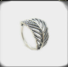 Brand New Light As A Feather Leaf Sterling silver Clear CZ Ring Size 6,7,8,9