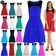 Womens Ladies Celebrity Sleeveless Cut Out Contrast Flared Franki Skater Dress