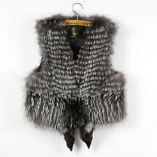 Fashion genuine silver fox fur vest for women real fur trimmed gilet waistcoat