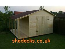 Apex Garden Workshop Shed With 2ft Shelter Heavy Duty 16mm Tanalised