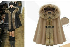 Women's Luxury Fur Collar Cape Hooded Poncho Cloak Outwear Jacket Coat