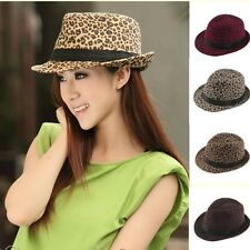 Women Lady Girls Hairy Surface Leopard Gangster Jazz Trilby Fedora Hats Caps