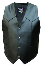 Mens Taller Basic Water Buffalo Black Motorcycle Riding Vest no lace