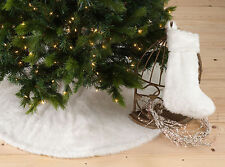 NEW Noël Blanc Faux Fur White Holiday Christmas Tree Skirt, One Piece