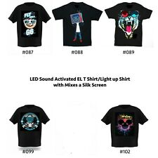 Sound Activated Light shirts/LED shirts/EL T shirts/light up shirts/flash shirts