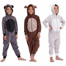 Boys Animal Onesie Fleece Pyjamas PJs Kids All In One Hooded Jumpsuit Sleepsuit