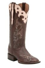 Lucchese M4914 Womens Whiskey Brown Cowgirl Western Boots Star Overlay Collar