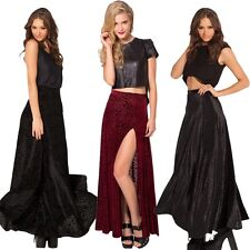 Sexy Lady Black Burned Velvet Cheetah Skirts Long Fomal Maxi Cocktail Dresses