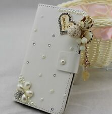 Bling Pearl Wallet Card Holder PU Leather Flip Pouch Cover Case For Sony phones