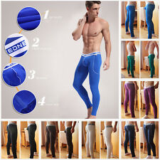 Men's Fiber Long Johns Thermal Pants Soft Trousers Solid Color Underwear S M L