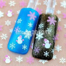 Christmas 3D Nail Art Stickers Decals Decorations Tools Snowflake Snowman Design