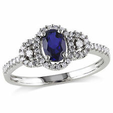 10k White Gold 1/6 Ct Diamond TDW And 3/4 Ct Blue Sapphire Fashion Ring GH I2;I3