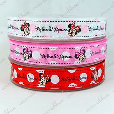 10 Y 5/8 Minnie Mouse With Polka Dot Bow Grosgrain Ribbon U-Pick Color