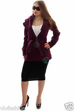 Ladies Womens Hooded Military Jacket Belted Button Up Wool Mix Warm Slim Coat
