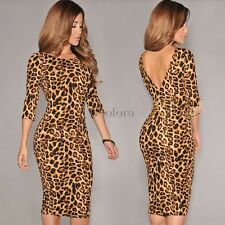 Leopard Print Sexy Women Party Cocktail Long Midi Bodycon Dress Tunic Pencil co