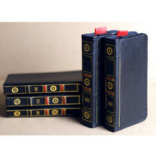 """Retro Book Leather Flip Wallet Case Cover Skin For iPhone 4 4s 5 5s 6 4.7"""" BLACK"""