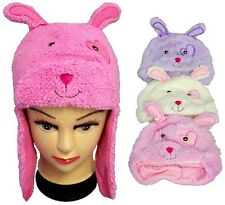 1Pc or Wholesale  6Pcs Plush Animal Hats With Ear Warmers - Bunny ( EZWCK-BUNNY)