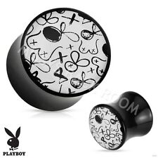 Playboy Exclusive Sketch Pattern Acrylic Saddle Plug Black White FREE SHIP