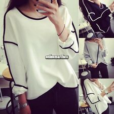 Women Round Neck Long Sleeve Geometric Knitted Pullover Jumper Loose Sweater Top