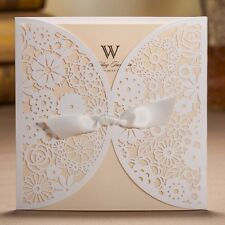 White Hollow Flowers Silk Tie Wedding Invitations Cards with Envelopes, Seals