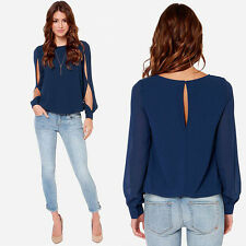 Fashion Women Loose Sexy Long-sleeved Chiffon Casual Blouse Shirt Tops Excellent