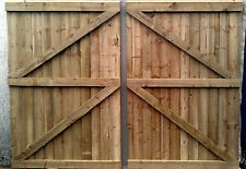 Wooden garden Gate,Driveway gate,Double Gate, Heavy Duty 8ft wide x 6ft high