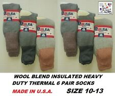 WOOL BLEND  INSULATED HEAVY DUTY THERMAL 6 PACK SOCKS MADE IN U.S.A. SIZE 10-13