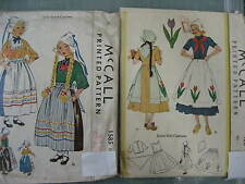 McCALLS VINTAGE DUTCH NATIONAL DANCE COSTUME SEWING PATTERN 1585 or 428