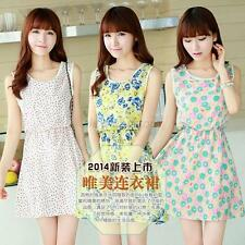 Cute Lady Slim Crew Neck Sleeveless Mini Dress Floral Chiffon Sundress New A11