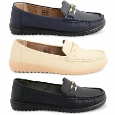 NEW LADIES FAUX LEATHER FORMAL OFFICE WORK LOAFER MOCCASIN SHOES SIZE UK 3 -8