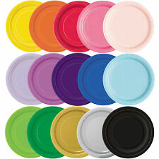 """Round Paper Plates 7"""" & 9"""" Party Plain Solid Colours Tableware Events Catering"""