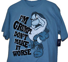 NWT Authentic Disney I'M GRUMPY DON'T MAKE IT WORSE textured shirt free shipping