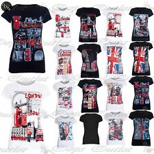 Womens Ladies London Attractions Print Cap Sleeve 100% Cotton Tee T Shirts Tops