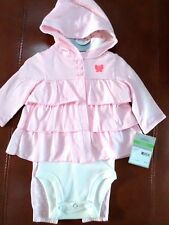 Carter's Baby Girls 3 Pc Pink Ruffle Set Cardigan/Bodysuit/Pants Select a Size