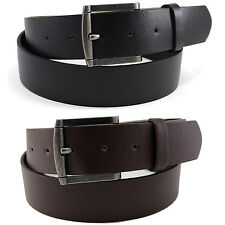 Mens Solid Dress Leather Belt Black Brown Strap Removable Buckle Casual S-XL