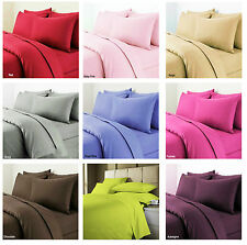 Brand New Plain Duvet Cover+Pillow Case Quilt Cover Bed Set Single,Double&King
