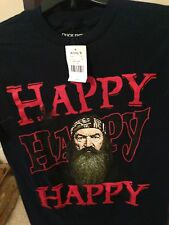 New Duck Dynasty  Phil Robinson Happy Happy Happy T-Shirt XL and SM (Dark Blue)