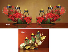 Collections Etc Fiber Optic Floral Holiday Tealight Holder Centerpiece