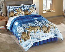 Collections Etc Midnight Wolves Bed Comforter Set - 4 Pc