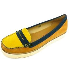 LADIES YELLOW DOLCIS FLAT COMFY MOCCASIN LOAFER CASUAL PUMPS DECK SHOES SIZE 3-8